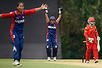 Jyoti Pandey of Nepal celebrates during their ICC 2016 Women's World Cup Asia Qualifier match between China and Nepal  on 11 October 2016 at the Kowloon Cricket Club in Hong Kong, China. Photo by Marcio Machado / Power Sport Images
