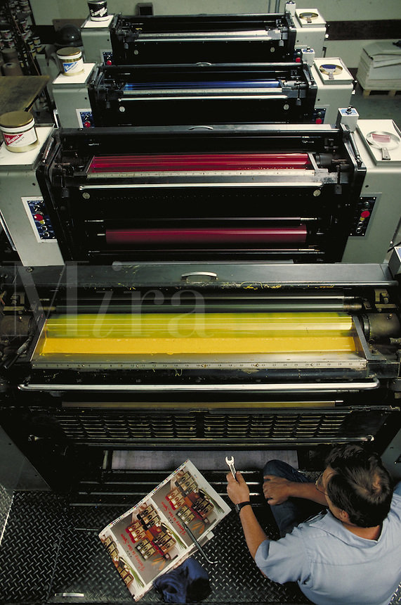 Printing press showing various inks used in printing process. Houston Texas.