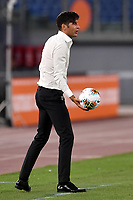Paulo Fonseca coach of AS Roma takes the ball during the Serie A football match between AS Roma and ACF Fiorentina at stadio Olimpico in Roma (Italy), July 26th, 2020. Play resumes behind closed doors following the outbreak of the coronavirus disease. <br /> Photo Antonietta Baldassarre / Insidefoto