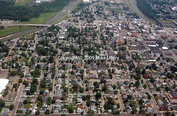 Aerial photos of the downtown area in Piqua, Ohio.
