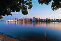 Vancouver skyline in the late evening from Stanley Park