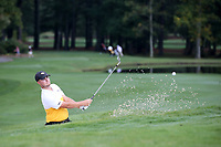 SAPPHIRE, NC - OCTOBER 01: Kristian Tannum Donaldson of Virginia Commonwealth University hits out of a sand trap at The Country Club of Sapphire Valley on October 01, 2019 in Sapphire, North Carolina.