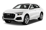 2019 Audi q8 Premium Plus 5 Door SUV angular front stock photos of front three quarter view