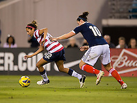 Christen Press, Jennifer Beattie.  The USWNT defeated Scotland, 4-1, during a friendly at EverBank Field in Jacksonville, Florida.