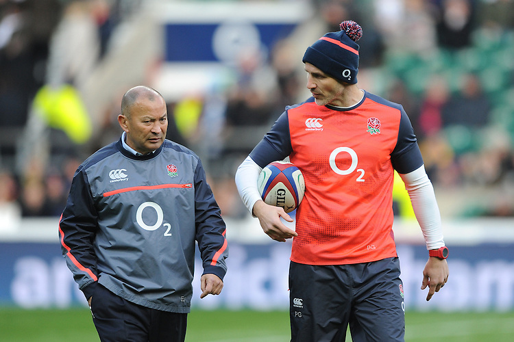 Eddie Jones, England Head Coach, with Paul Gustard, England Defence Coach, before the Old Mutual Wealth Series match between England and Argentina at Twickenham Stadium on Saturday 26th November 2016 (Photo by Rob Munro)