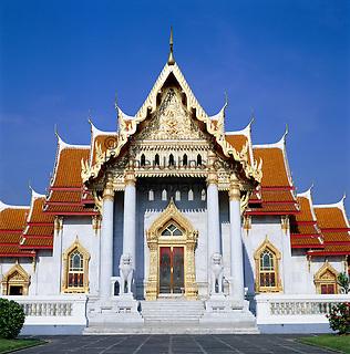 Thailand, Central Thailand, Bangkok: Wat Benjamabophit (marble Temple) | Thailand, Zentralthailand, Bangkok: Wat Benjamabophit (der Marmor Tempel)