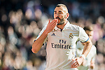 Karim Benzema of Real Madrid celebrates during their La Liga match between Real Madrid and Granada CF at the Santiago Bernabeu Stadium on 07 January 2017 in Madrid, Spain. Photo by Diego Gonzalez Souto / Power Sport Images