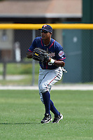 Minnesota Twins Edgar Corcino (27) during practice before a minor league spring training game against the Baltimore Orioles on March 28, 2015 at the Buck O'Neil Complex in Sarasota, Florida.  (Mike Janes/Four Seam Images)