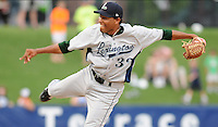 Pitcher Jorge DeLeon (32) of the Lexington Legends, Class A affiliate of the Houston Astros, in a game against the Greenville Drive on June 5, 2011, at Fluor Field at the West End in Greenville, S.C. Photo by Tom Priddy / Four Seam Images