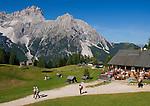 Italy, South Tyrol, Alto Adige, Dolomites, Moso: hiking region Prati di Croda Rossa with Rudi Mountain Inn, Prati di Croda Rossa Mountain Inn and Punta Tre Scarperi mountain
