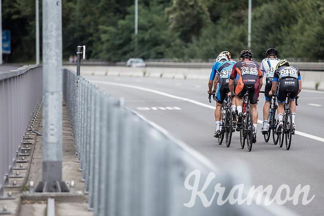 Early break away group riding up a bridge<br /> <br /> 51th GP Jef 'Poeske' Scherens 2017 <br /> Leuven - Leuven (13local laps/153.7km)