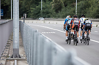 Early break away group riding up a bridge<br /> <br /> 51th GP Jef 'Poeske' Scherens 2017 <br /> Leuven - Leuven (13local laps/153.7km)