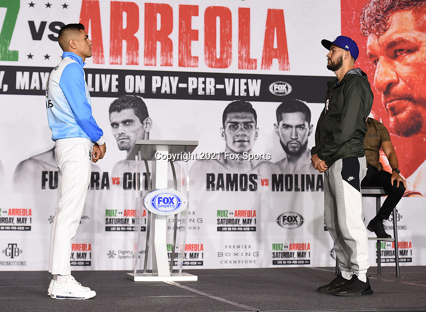 LOS ANGELES, CA - APRIL 29: Jesus Ramos Jr. (L) and Javier Molina attend the undercard press conference for the Andy Ruiz Jr. vs Chris Arreola Fox Sports PBC Pay-Per-View in Los Angeles, California on April 29, 2021. The PPV fight is on May 1, 2021 at Dignity Health Sports Park in Carson, CA. (Photo by Frank Micelotta/Fox Sports/PictureGroup)