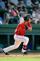 Shortstop Tzu-Wei Lin (36) of the Greenville Drive bats in a game against the Lexington Legends on Sunday, April 27, 2014, at Fluor Field at the West End in Greenville, South Carolina. Lin is the No. 28 prospect of the Boston Red Sox, according to Baseball America. Greenville won, 21-6. (Tom Priddy/Four Seam Images)