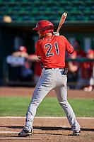 Ryan Vega (21) of the Orem Owlz bats against the Ogden Raptors at Lindquist Field on September 10, 2017 in Ogden, Utah. Ogden defeated Orem 9-4. (Stephen Smith/Four Seam Images)