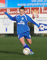 20160116 - ZULTE , BELGIUM : Gent's Emma Van Britsom  pictured during a soccer match between the women teams of ZULTE-WAREGEM and AA GENT B  , during the fifteenth matchday in the First League - Eerste Nationale season, Saturday 16 January 2016 . PHOTO DIRK VUYLSTEKE