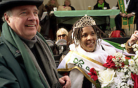March 14 2004  Montreal, Quebec, Canada.<br /> <br /> Paul martin, Prime Minister, CANADA (L) and Tara Hecksher , Half-irish and Half Nigerian Queen of the<br />  take part in the<br /> Saint-Patrick Day Parade in Montreal, March 14 2004<br /> <br /> <br /> Mandatory Credit: Photo by  Liam Maloney - Images Distribution. (©) Copyright 2004 by Liam Maloney