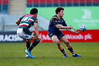 6th February 2021; Mattoli Woods Welford Road Stadium, Leicester, Midlands, England; Premiership Rugby, Leicester Tigers versus Worcester Warriors; Duncan Weir of Worcester Warriors moves the ball wide