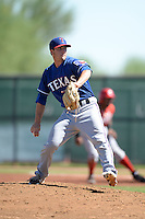 Texas Rangers pitcher Storm Rynard (95) during an Instructional League game against the Cincinnati Reds on October 3, 2014 at Surprise Stadium Training Complex in Surprise, Arizona.  (Mike Janes/Four Seam Images)