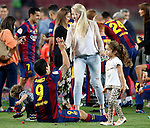 FC Barcelona's Luis Suarez celebrates with his family the victory in the Spanish King's Cup Final match. May 30,2015. (ALTERPHOTOS/Acero)
