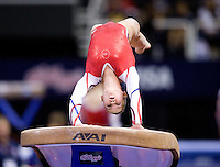 Brenna Dowell of GAGE competes on the vault during 2012 US Olympic Trials Gymnastics Finals at HP Pavilion in San Jose, California on July 1st, 2012.