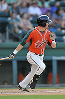 Left fielder Casey Soltis (35) of the Greensboro Grasshoppers bats in a game against the Greenville Drive on Thursday, July 14, 2016, at Fluor Field at the West End in Greenville, South Carolina. (Tom Priddy/Four Seam Images)