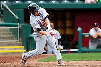 Mike Trout (23) of the Arkansas Travelers crushes a pitch during a game against the Springfield Cardinals on May 10, 2011 at Hammons Field in Springfield, Missouri.  Photo By David Welker/Four Seam Images.