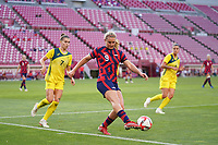 KASHIMA, JAPAN - AUGUST 5: Lindsey Horan #9 of the United States during a game between Australia and USWNT at Kashima Soccer Stadium on August 5, 2021 in Kashima, Japan.