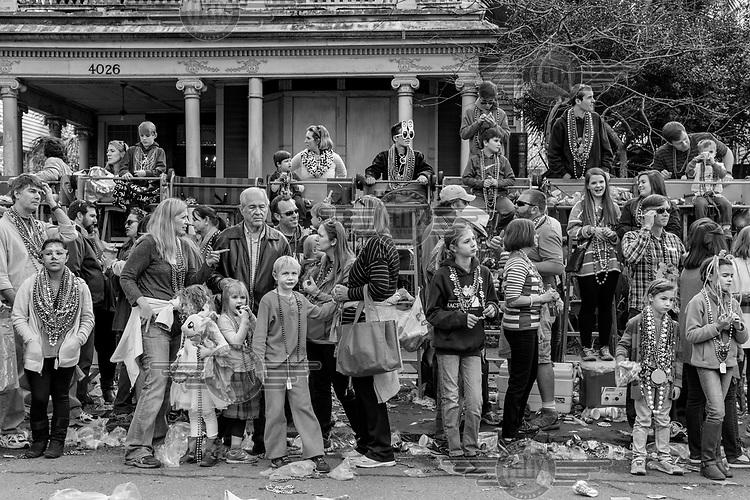 Spectators line the street at a Mardi Gras parade.