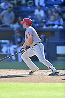 Hagerstown Suns shortstop Sheldon Neuse (16) swings at a pitch during a game against the  Asheville Tourists at McCormick Field on May 13, 2017 in Asheville, North Carolina. The Suns defeated the Tourists 9-5. (Tony Farlow/Four Seam Images)