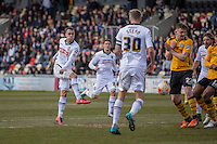 Graham Burke of Notts County shoots at goal during the Sky Bet League 2 match between Newport County and Notts County at Rodney Parade, Newport, Wales on 30 April 2016. Photo by Mark  Hawkins / PRiME Media Images.