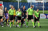 Referees and Players coming into the field  at the beginning of the game.   Washington Freedom defeated FC Gold Pride 3-1at the Maryland SoccerPlex, Sunday May 31, 2009.