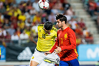 Stefan Medina of Colombia competes for the ball with Alvaro Morata of Spain during the friendly match between Spain and Colombia at Nueva Condomina Stadium in Murcia, jun 07, 2017. Spain. (ALTERPHOTOS/Rodrigo Jimenez) (NortePhoto.com) (NortePhoto.com)