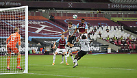 West Ham United's Sebastien Haller fails to get a header on target in the first half<br /> <br /> Photographer Rob Newell/CameraSport<br /> <br /> Carabao Cup Second Round Northern Section - West Ham United v Charlton Athletic - Tuesday 15th September 2020 - London Stadium - London <br />  <br /> World Copyright © 2020 CameraSport. All rights reserved. 43 Linden Ave. Countesthorpe. Leicester. England. LE8 5PG - Tel: +44 (0) 116 277 4147 - admin@camerasport.com - www.camerasport.com