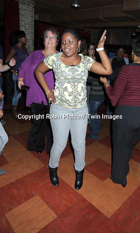 Shenell Edmonds dancing at the Shenell Edmonds Fan Club Dance Party  on October 10, 2010 at HB Burger in New York City.