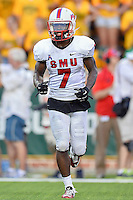 SMU wide receiver Der'rikk Thompson (7) during first half of NCAA inaugural Football game at newly constructed McLean Stadium, Sunday, August 31, 2014 in Waco, Tex. Baylor leads SMU 31-0 in the first half. (Mo Khursheed/TFV Media via AP Images)
