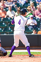 Austin Yount #4 of the Winston-Salem Dash at bat against the Kinston Indians at BB&T Ballpark on April 17, 2011 in Winston-Salem, North Carolina.   Photo by Brian Westerholt / Four Seam Images