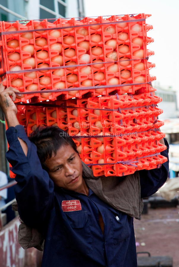 Myanmar, Burma, Yangon.  Stevedores Carrying Crates of Eggs from Ship to Shore.