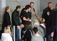 April 28th, 2013 - Paris..Harry Styles arriving at the Parisian airport..Because of a large number of fans awaiting his arrival, French policeman were called in to protect Harry Styles as he landed at Charles De Gaulle airport in Paris...****** BYLINE MUST READ : © Spread Pictures ******..****** No Web Usage before agreement ******..****** Stricly No Mobile Phone Application or Apps Use Without our Prior Agreement ******..Enquiries at photo@spreadpictures.com