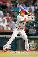 Philadelphia Phillies second baseman Pete Orr #5 at bat during the Major League Baseball game against the Houston Astros at Minute Maid Park in Houston, Texas on September 12, 2011. Houston defeated Philadelphia 5-1.  (Andrew Woolley/Four Seam Images)