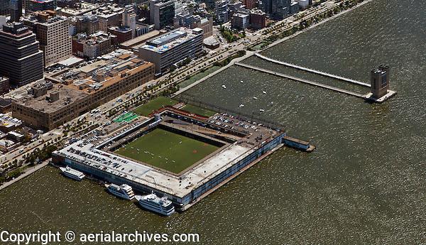 aerial photograph Pier 40, Hudson River Park, Manhattan, New York City