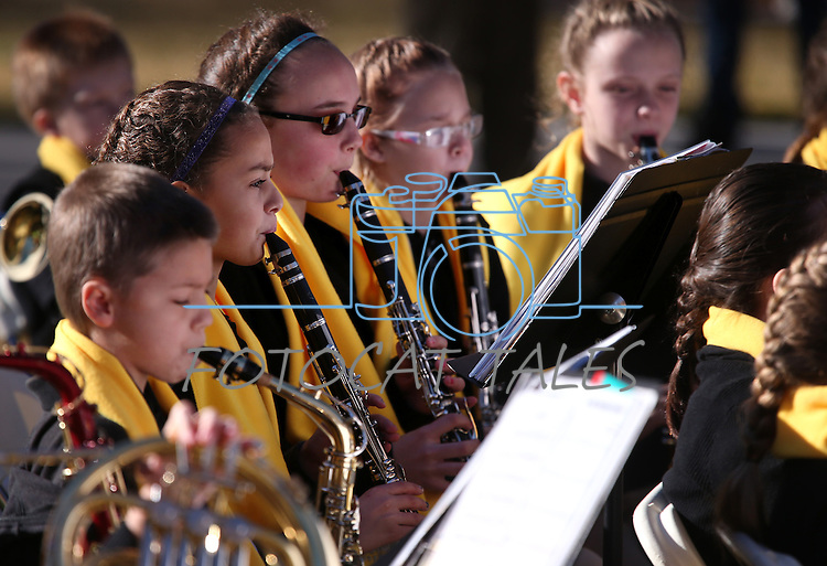 """The Learning Bridge Charter School band, of Ely, performs for several hundred people at the """"Nevada Supports School Choice"""" rally to raise awareness of educational choices on the Capitol grounds in Carson City, Nev., on Wednesday, Jan. 28, 2015. <br /> Photo by Cathleen Allison"""