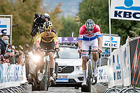 Mathieu Van der Poel (NED/Alpecin-Fenix) & Wout van Aert (BEL/Jumbo - Visma) fighting for the win up the Oude Kwaremont<br /> <br /> 104th Ronde van Vlaanderen 2020 (1.UWT)<br /> <br /> 1 day race from Antwerpen to Oudenaarde (BEL/243km) <br /> <br /> ©kramon
