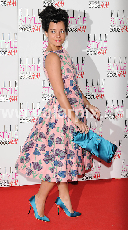 **ALL ROUND PICTURES FROM SOLARPIX.COM**.**WORLDWIDE SYNDICATION RIGHTS**.Celebrities arrive for the Elle Style Awards at The Roundhouse, London. 12th February 2008..This pic: Lily Allen..JOB REF: 5777 ATM     DATE: 12_02_2008.**MUST CREDIT SOLARPIX.COM OR DOUBLE FEE WILL BE CHARGED* *UNDER NO CIRCUMSTANCES IS THIS IMAGE TO BE REPRODUCED FOR ANY ONLINE EDITION WITHOUT PRIOR PERMISSION*