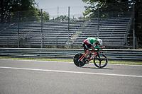 Manuel Quinziato (ITA/BMC) out on the Autodromo Nazionale (Monza Race Circuit) for the closing time trial into Milano<br /> <br /> stage 21: Monza - Milano (29km)<br /> 100th Giro d'Italia 2017