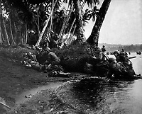 Landing operations on Redova Island, Solomon Islands, 30 June 1943.  Attacking at the break of day in a heavy rainstorm, the first Americans ashore huddle behind tree trunks and any other cover they can find.  (Navy)<br /> NARA FILE #:  080-G-52573<br /> WAR & CONFLICT BOOK #:  1176