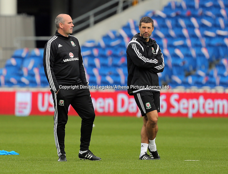 CARDIFF, WALES - SEPTEMBER 05: Performance psychologist Ian Mitchell (L) watches on during the Wales training session, ahead of the UEFA Euro 2016 qualifier against Israel, at the Cardiff City Stadium on September 5, 2015 in Cardiff, Wales.