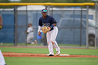 GCL Rays first baseman Luis Perez (24) during a Gulf Coast League game against the GCL Pirates on August 7, 2019 at Charlotte Sports Park in Port Charlotte, Florida.  GCL Rays defeated the GCL Pirates 5-3 in the second game of a doubleheader.  (Mike Janes/Four Seam Images)