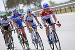 Federico Zurlo (ITA) United HealthCare Pro Cycling Team leads the breakaway group during Stage 2 of the 2015 Presidential Tour of Turkey running 182km from Alanya to Antalya. 27th April 2015.<br /> Photo: Tour of Turkey/Stiehl Photography/Mario Stiehl/www.newsfile.ie