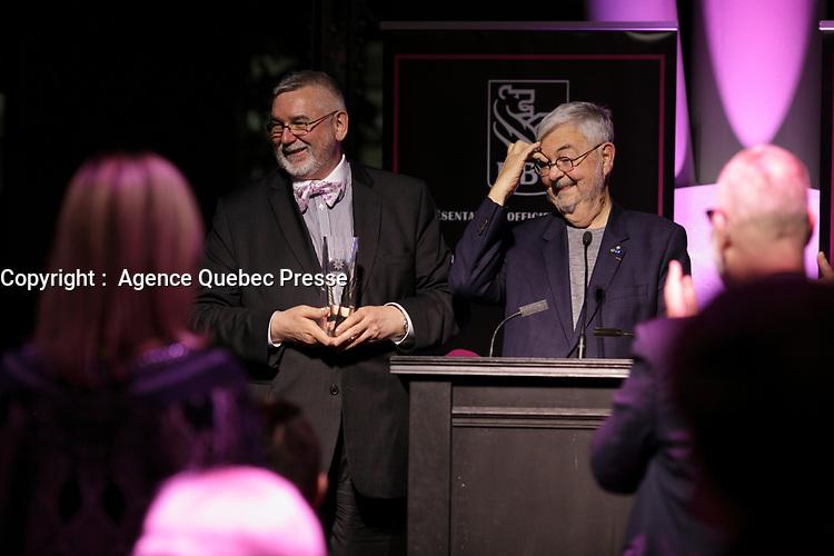 Michel Tremblay et autres finalistes honores au Gala Phenicia 2018, le jeudi 31 mai 2018, au Parquet de la Caisse de Depot et Placements du Quebec<br /> <br /> PHOTO : Agence Quebec Presse